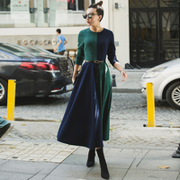 VERRAGEE women new 2018 autumn knitted solid color long cyan dark blue formal patchwork maxi vintage dress