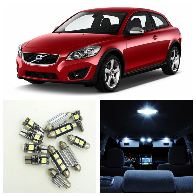12pcs White Canbus No Error LED Light Car Bulbs Interior Package Kit For 2007-2013 Volvo C30 Map Trunk Door Golve Box Lamp 16pcs canbus car white led light bulbs interior package kit for 2011 2012 2013 2014 2015 volvo s60 map dome trunk door lamp