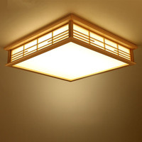 Японский потолочные светильники Светодиодный квадратный размером 45*45 см Washitsu Декор Светильник деревянный для Гостиная Спальня фонарь внут