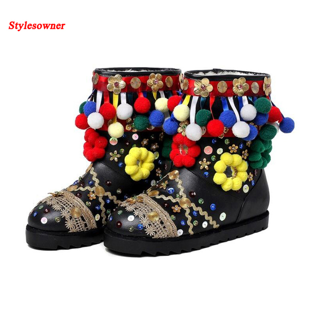 ffdd6b84ae0 Stylesowner Hair Ball Anke Women Boots Ethnic Fringe Sequins Name Brand  Style Lamb Wool Winter Warm Lady Short Flat Boot 2016