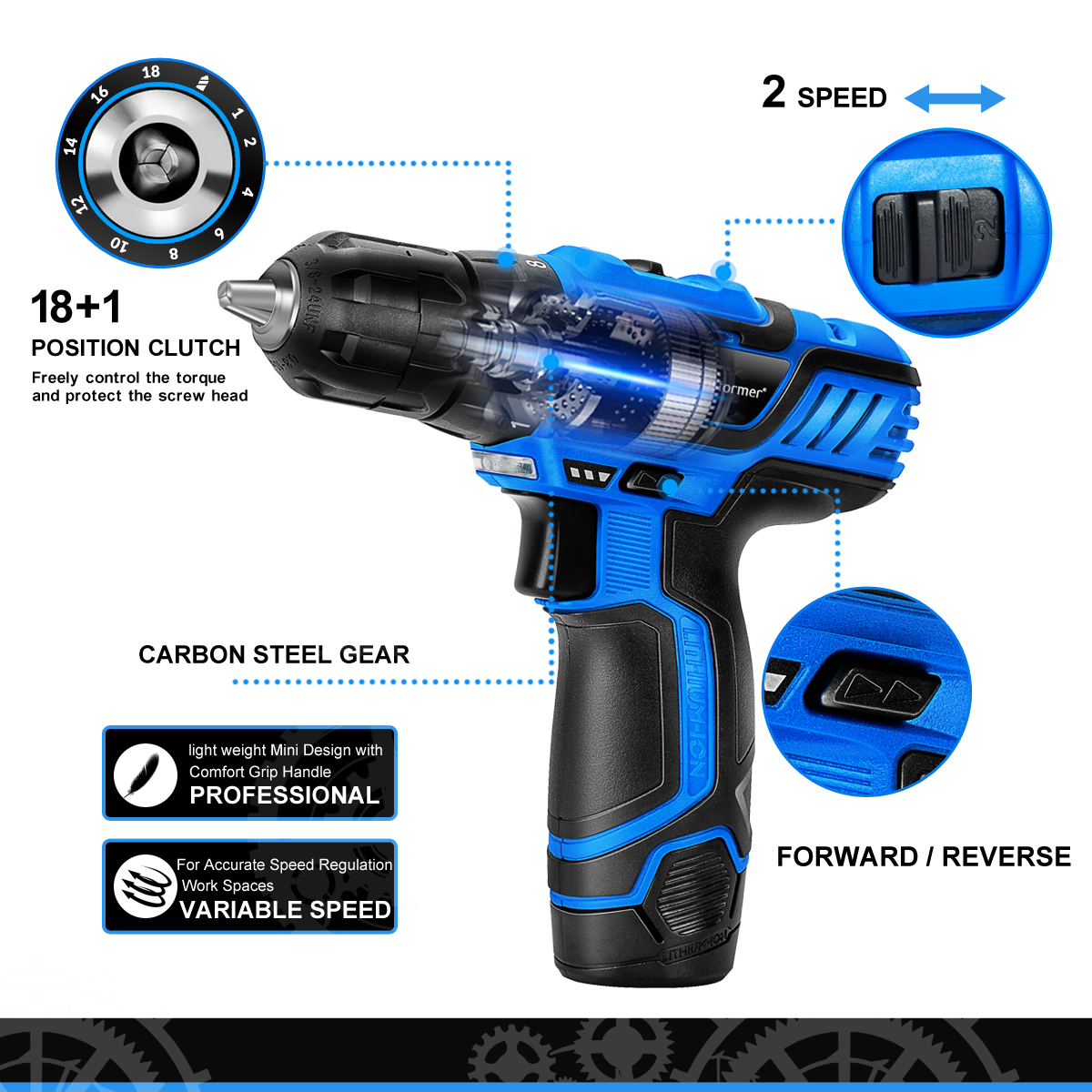 Image 3 - PROSTORMER 12V Series Cordless Power Tools Household DIY Electric Drill Screwdriver Wrench Ratchet Wrench Professional Tools-in Electric Drills from Tools on