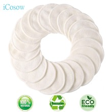 iCosow Makeup Remover Pads Reusable 16 Pcs -Natural Bamboo Cottons Facial Skin Caring Pads-Face Cleaning Clothes Wipes Machine