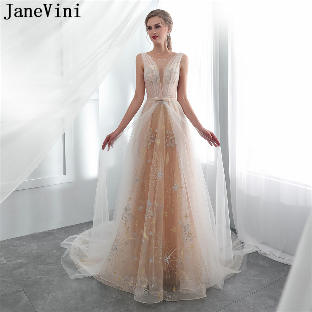 JaneVini Sexy Champagne Long   Bridesmaid     Dresses   A Line Sheer Scoop Neck Backless Court Train Illusion Tulle Formal Prom Gowns