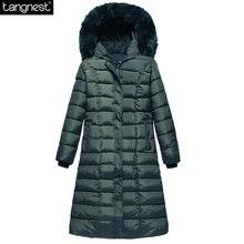 TANGNEST Hood Plus Size Winter COAT Women 2017 Large Faux Fur Collar Down Parka X-long OverCoats Warm Winter Jacket WWD122