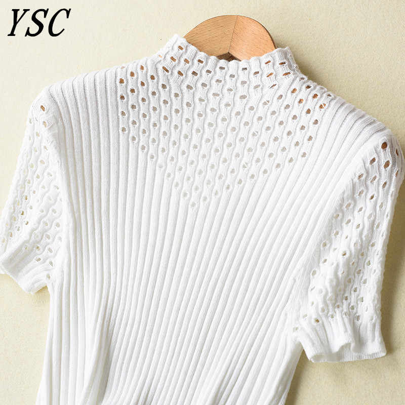 Ysc 2018 가을 뜨거운 판매 프랑스어 스타일 캐시미어 울 스웨터 절반 높은 칼라 단색 절반 슬리브 스웨터 밖으로 hollowed