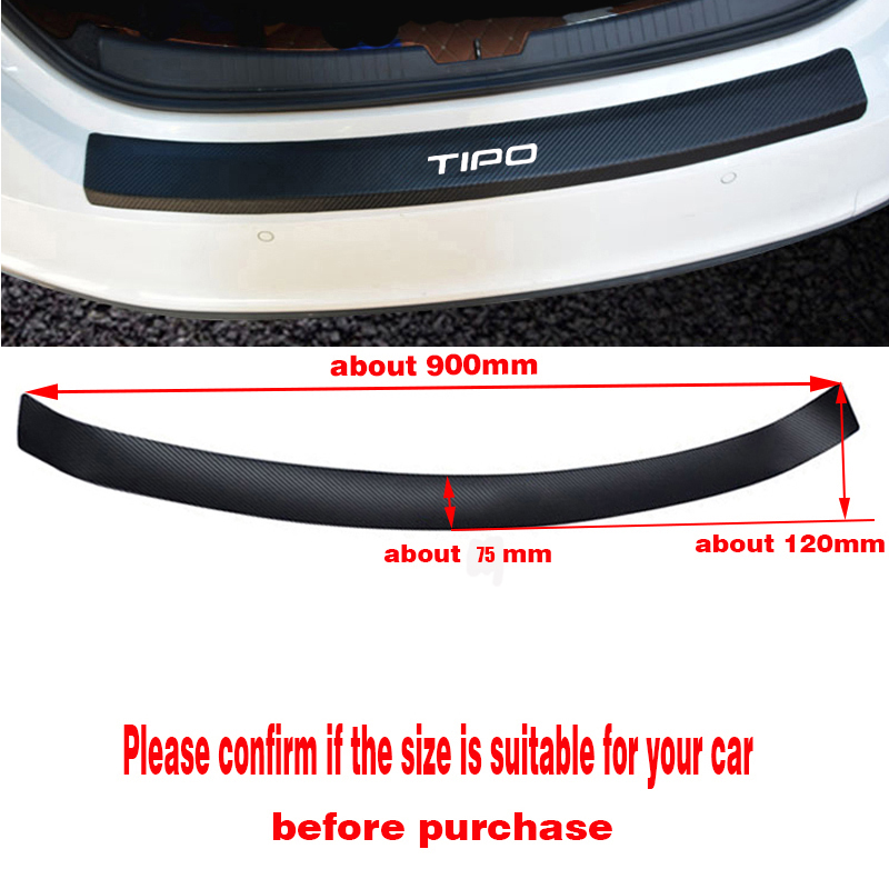 Image 5 - PU leather Carbon fiber Styling Car Accessories After guard Rear Bumper Trunk Guard Plate For Fiat Tipo-in Car Stickers from Automobiles & Motorcycles