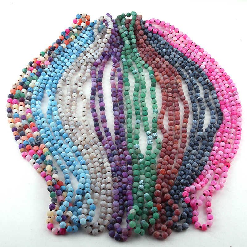 送料無料ファッションボヘミアン部族のジュエリー 6 ミリメートル半貴石風化 Agat ロング結び目ネックレス