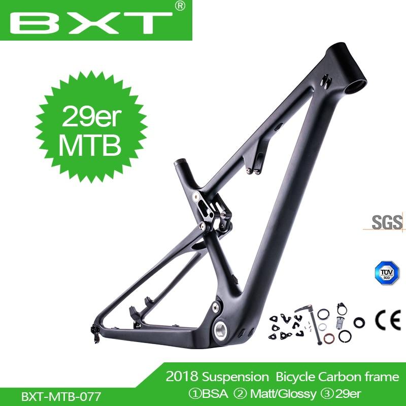 BXT Recentes 29er MTB Suspensão Total De Carbono UD Cross Country nenhum logotipo BSA amortecedor Traseiro 165*38mm * 22mm Mountain Bike Quadro