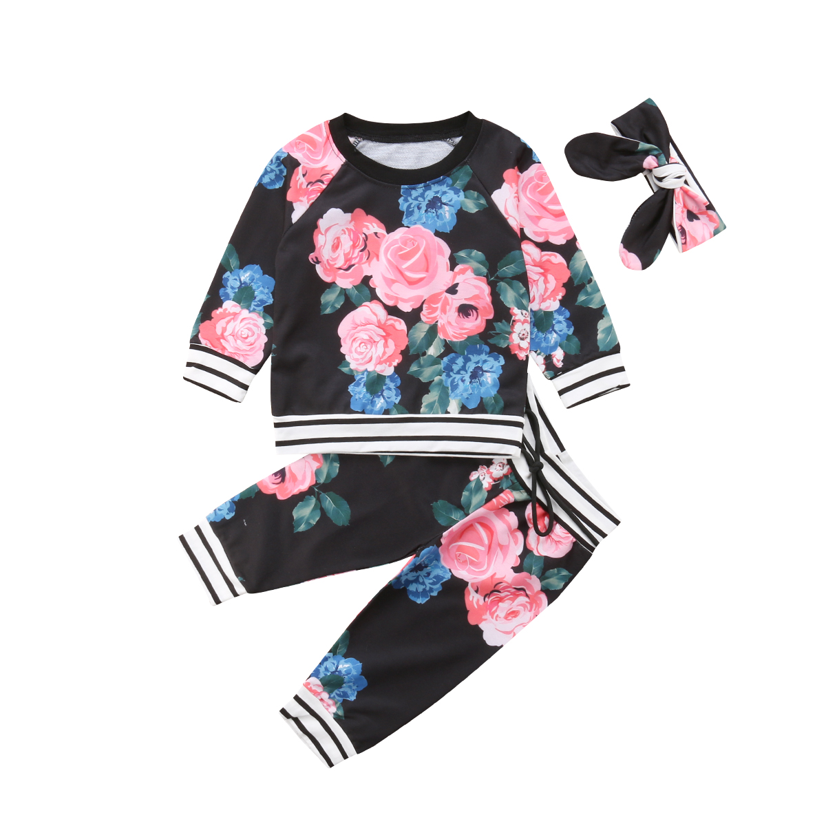 3pcs Newborn Baby Girl Floral Clothes Set Tops T Shirt Pants Leggings Outfits