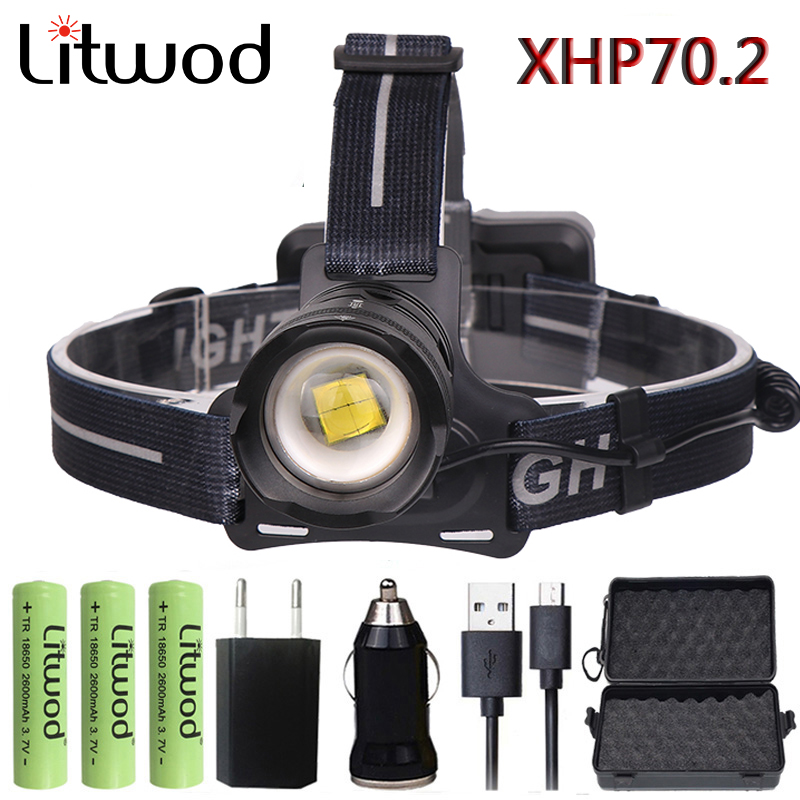 Litwod Z902808 Original XLamp XHP70.2 LED 32W zoom Led headlamp 4292lm The best brightest powerful head lamp flashlight lantern