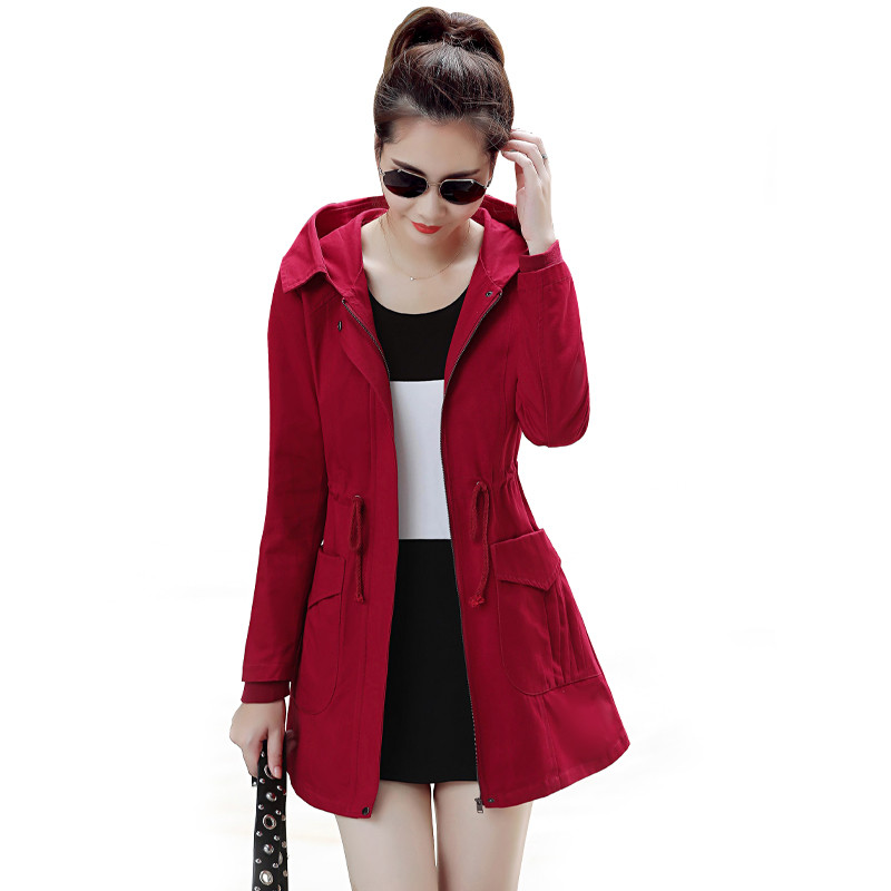 2019 Spring Autumn New Women   Trench   Coat Windbreaker Europe America Fashion Trend Slim Loose Hooded Outerwear Plus Size 4XL M191