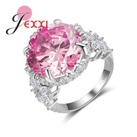 JEXXI European Women Pink Austrian Crystal 925 Sterling Silver Wedding Engagement Rings With Cubic Zirconia Bands