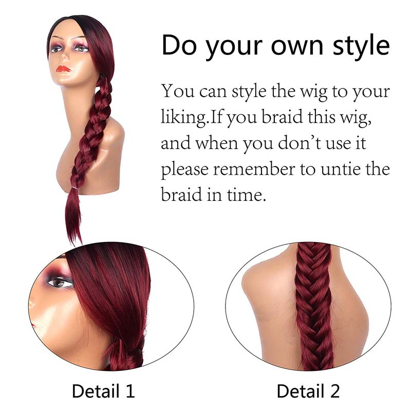 LISI HAIR 26Inches Long Straight Hair Black Ombre Red Color Wigs For Women Average Size Synthetic Hair High Temperature Fiber