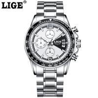 LIGE Sport Men Watches Luminous Hands Military Chronograph Quartz Man Outdoor Big Dial Watch Army Male