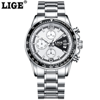 LIGE Sport Men Watches Luminous Hands Military Chronograph Quartz Man Outdoor Big Dial Watch Army Male