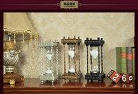 Sliver Golden Or Black 24CM Retro Square Resin Metal 30Min Sand Glass Sand Timer Clock Hourglass Home Decoration Holiday Gift