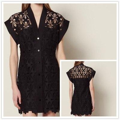 Women Dress 2019 Spring and Summer Openwork Lace up V neck Dress