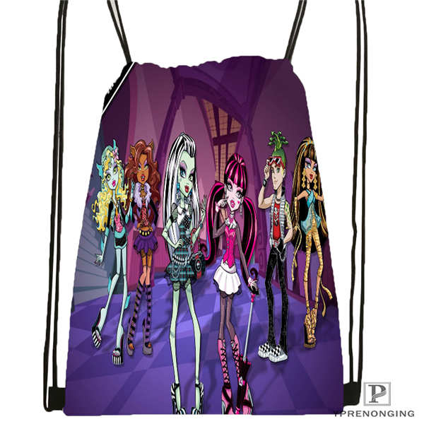 Custom Monster-High Drawstring Backpack Bag Cute Daypack Kids Satchel (Black Back) 31x40cm#180611-01-48