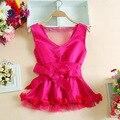 2016 Verão V neck mangas bow blusas mulheres blusas peplum cetim rosa blusas corpo camisas das mulheres preto ruffles top