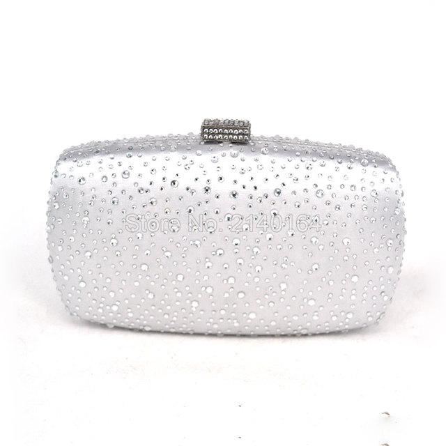 Women Solid white satin Box Clutch Mini Hardcase Metal Clutches Evening silver Shoulder Bag Transparent Party Dinner Handbag 10