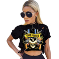 Print Skeleton Gun Women Short T Shirt Sexy O Neck Short Sleeve Burning Hole Crop Top American Streetwear Feminino Tops