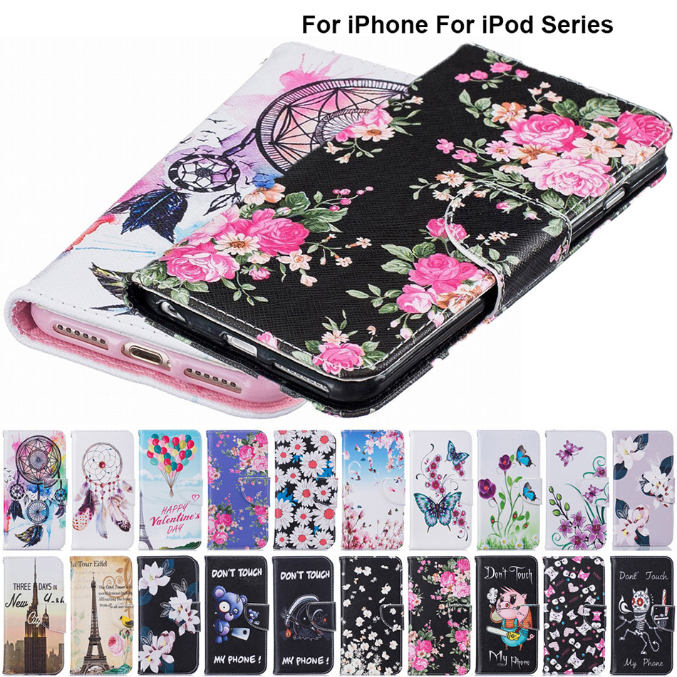 B116 Luxury Cute Cartoon Flowers Floral Leather Wallet Flip Phone Cover Coque Funda For iPod 6 Case For iPhone 5 5S SE 6S 7 Plus