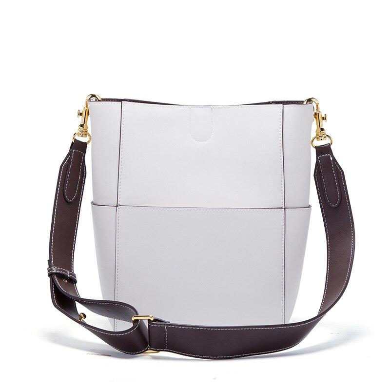 Nieuwe Vrouwen emmer tas Echt Leer Koeienhuid Draad designer Composite messenger Bag Crossbody Winkelen handtas met 2 bandjes - 6