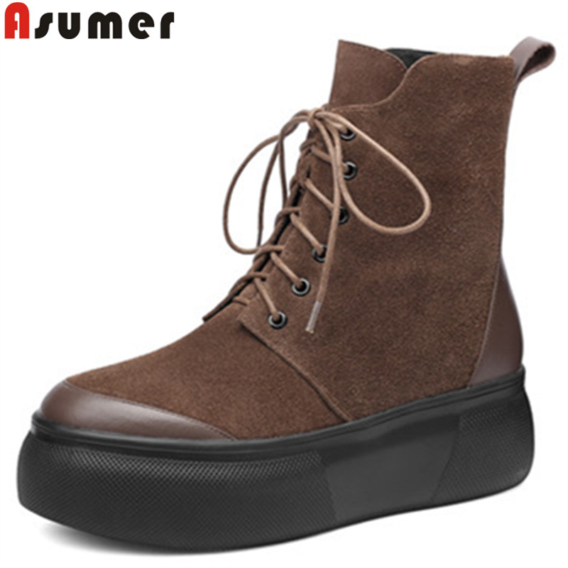 ASUMER 2018 fashion autumn winter boots women round toe lace up ankle boots platform flat with suede leather boots classic asumer black fashion 2018 autumn winter boots women round toe zip mixed colors ankle boots flat with suede leather boots