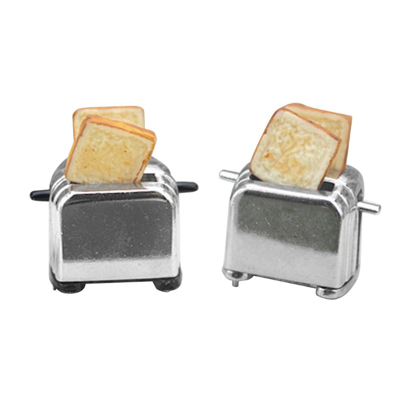 Doll  Miniature Toaster Bread Machine With Toast Kitchen Cookware Mini Accessories Decor 1/6 1/12 Scale