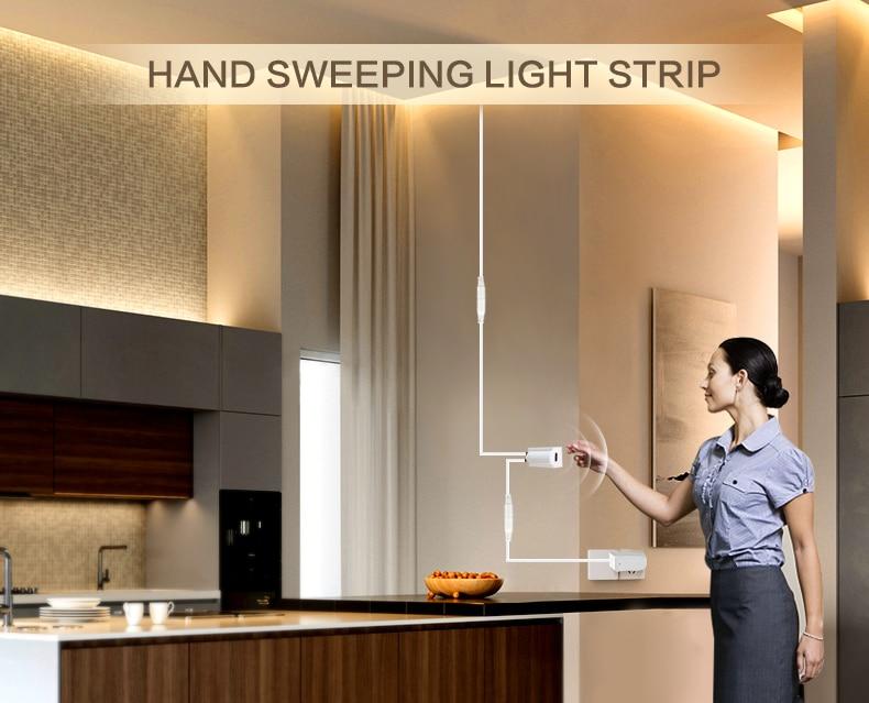 Hand Sweep Sensor LED Strips 12V Waterproof 1M 2M 3M 4M 5M Motion Sensor Night lights DIY Cupboard Wardrobe Closet Kitchen lamp