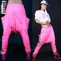 Nova moda Jazz harém mulheres sweatpants hip hop de dança feminino soltas calças traje tira personalidade bolso grande calça casual