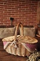 Giapponese zakka cotone plaid rosso del merletto pastorale portatile cestino di immagazzinaggio del salice cestino da picnic