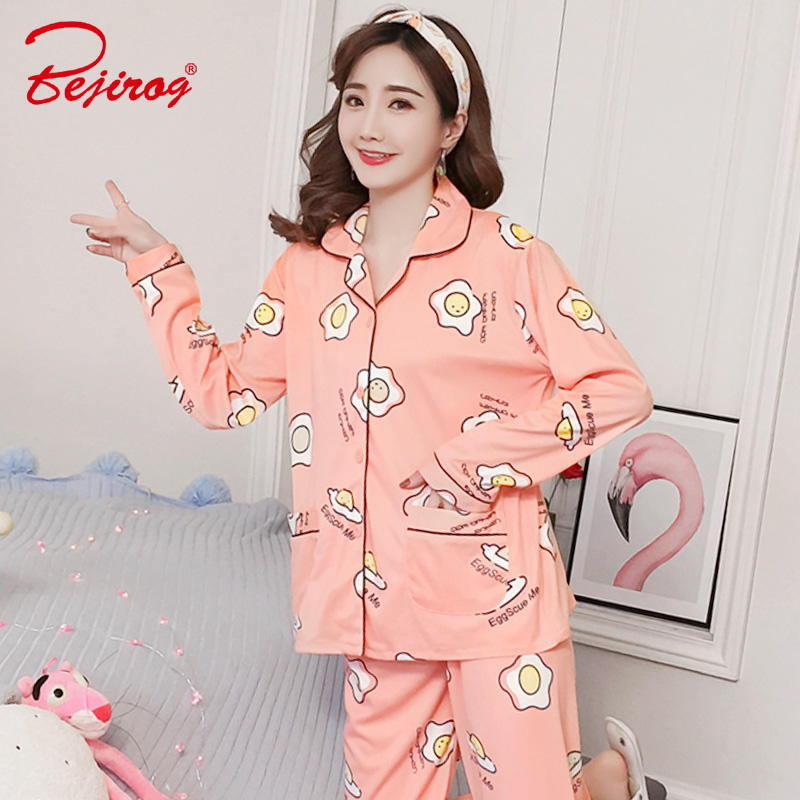 Bejirog women pajamas set causal long sleeved nightwear button egg print plus  size nighty milk silk sleepwear stitch+pant autumn 657833366