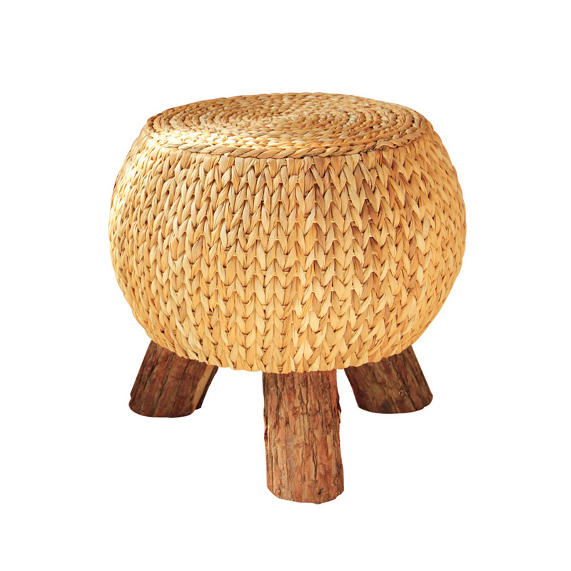 Rattan Handmade Rustic Round Footstool Household Multi Functional Wooden 3 Leg Portable Wicker Ottoman Footrest Comfortable Gift