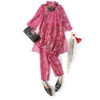Новые штаны костюм Для женщин Дамская мода 2 шт. Блузка + брюки набор индивидуальный заказ пикантные женские вышитые кружевные прозрачные