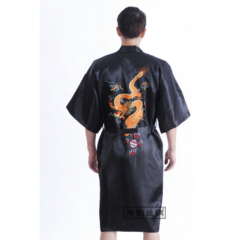 Chinese Style Embroider Dragon Bathrobe Men's Silk Satin Dressing Gown Robe Male Sleepwear With Belt S M L XL XXL XXXL