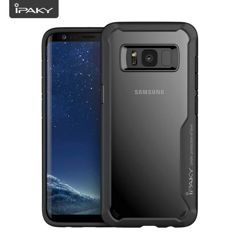 IPAKY For Samsung Galaxy S8 S9 Case Soft Silicon TPU+PC Transparent Back Cover Armor Shockproof Case For Samsung Galaxy S8 Plus