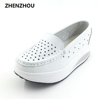 2016 Summer Genuine Leather Cutout Breathable Swing Shoes White Nurse Shoes Wedges Heighten Shoes Mother Shoes