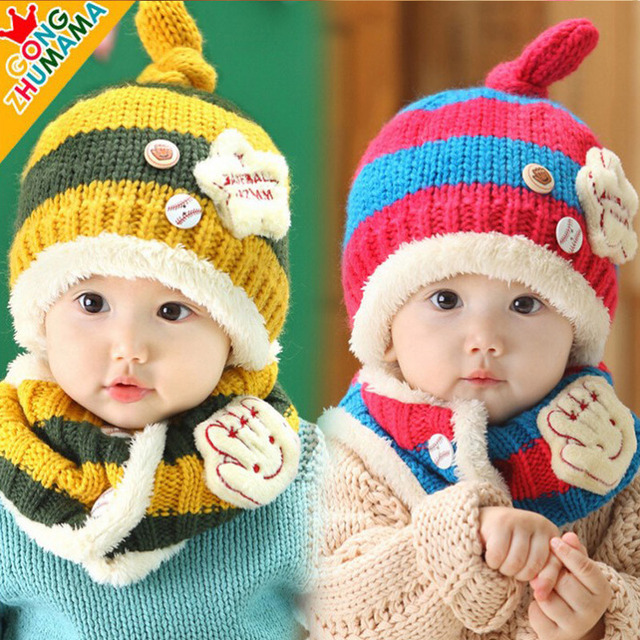 Children Hat Scarf Set Beanie Knit Baby Scarf Pattern Winter Hats