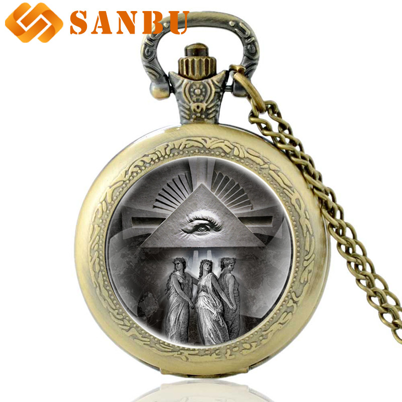 Vintage Silver Masonic Quartz Pocket Watch Retro Men Women Eye Of Providence Pendant Necklace Antique Jewelry