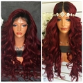 Dark Roots 1B/Burgundy Two Tone Red Ombre Human Hair Full Lace Wig Body Wave Glueless Front Lace Wig Baby Hair