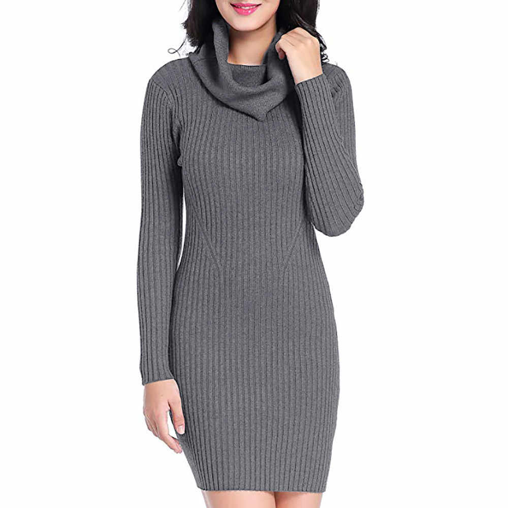 5f91e042641 ... Winter Dresses Women 2018 Cowl Neck Knit Stretchable Elasticity Long  Sleeve Slim Fit Sweater Dress