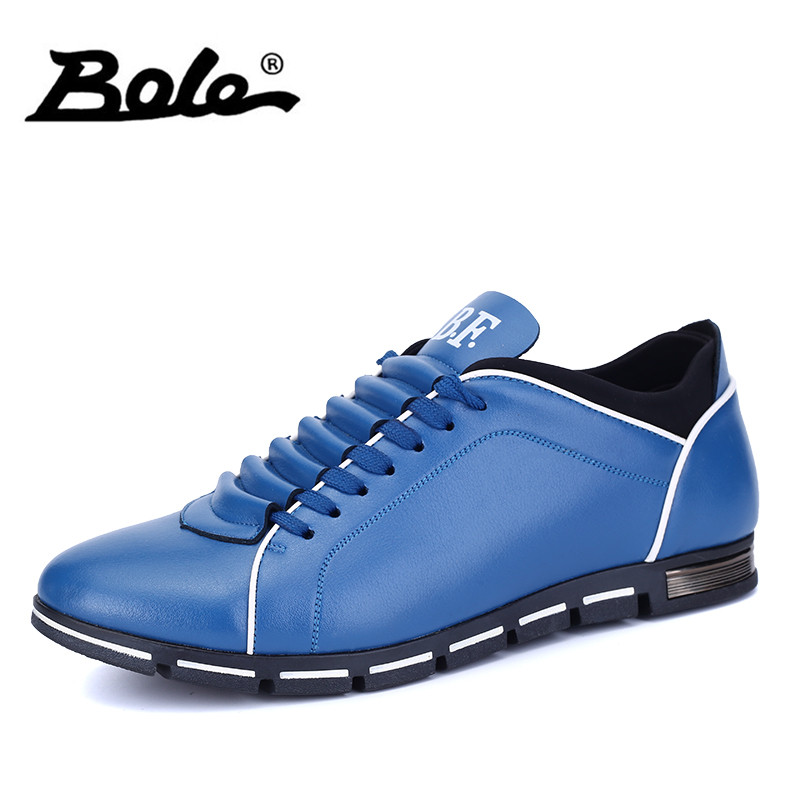 BOLE New Men Casual Shoes Fashion Lace Up Handmade Leather Flats Shoes for Men Driving Loafers Cozy Men Shoes Fashion Sneakers bole new handmade genuine leather men shoes designer slip on fashion men driving loafers men flats casual shoes large size 37 47