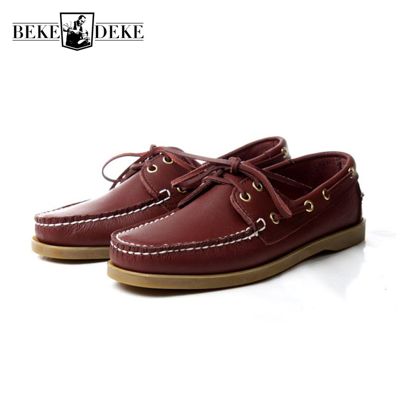 Brand Genuine Leather Driving Boat Shoes Men Lace Up Flats Moccasin Gommino Male 2019 New Breathable