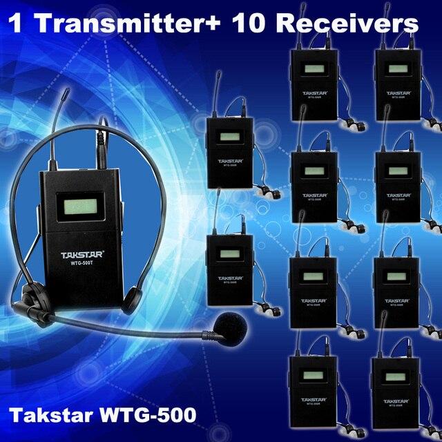 Бесплатная Доставка! 1 шт. Передатчик + Приемник 10 шт. Оригинал Takstar WTG-500 UHF PLL Беспроводной экскурсовод система голосовой обучения устройство
