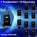 Free Shipping!1pcs Transmitter+Receiver 10 pcs Original Takstar WTG-500 UHF PLL Wireless tour guide system voice device teaching