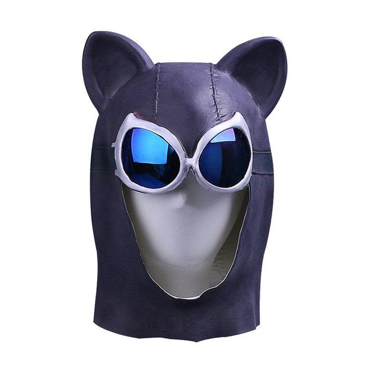 Cosplay Catwoman Mask Black Latex Cat Mask Cat Woman Batman Halloween Mask Prop