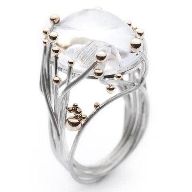 Regalo de moda al por mayor anillos de piedra último anillo de luz Natural mujeres incrustadas anillo de piedra Natural