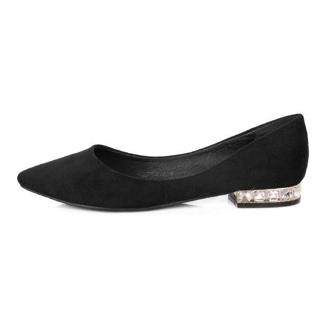 e31dda230a Mujer zapatos de tacones bajos ante los zapatos negros para para nuevo  cuero boca superficial de