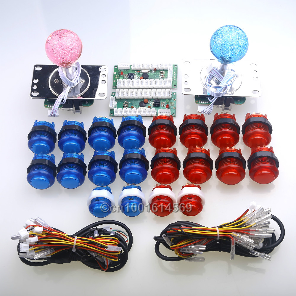 New Arcade DIY Kits 2 x LED 4/8 Way Joysticks & 20 x LED Lit Illuminated Push Buttons & 2 Player USB Encoders For Windows System new arcade diy parts usb control panel diy bundle kits 2 x joysticks 20pcs led illuminated push buttons for mame